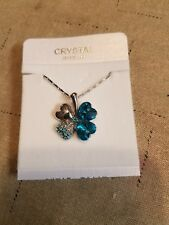 Swarovski Elements Necklace light blue Austrian Crystal clover made with