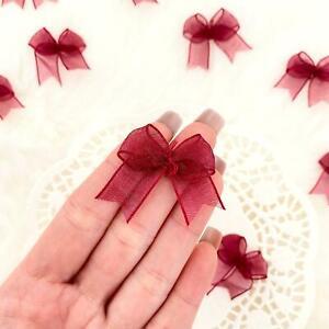 Burgundy Organza Bows Dark Red Fabric Bows Ribbon Bows Card Making Craft Bows