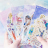 New 60x  Feather Flower Gilding Stickers Stationery Gift Scrapbook Stickers Cute