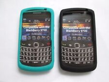 2 x BlackBerry BOLD 9700 Silicone Skin Case Cover Black & Aqua pro tec flex
