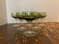 Vintage Italian Glass Empoli Green and Clear 4 Ounce Champagne Stem Set of 6 A