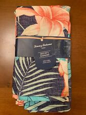 Tommy Bahama Napkins Set Of 4 Navy Floral 19x19 Polyester NEW