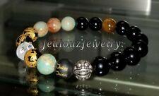 Sterling Silver Dragon Black Gold Turquoise Gemstone Mens Yoga Stretch Bracelet