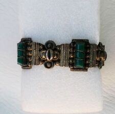 Vintage Mexico Taxco Carved Green Onyx Sterling Silver 925 Panel Bracelet
