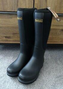 Womens Barbour Cyclone Black Waterproof Wellington Boots Wellies - UK 5