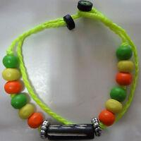 Neon Yellow Bracelet Wristband Bangle Mens Ladies Wood Beads Surfer Jewellery