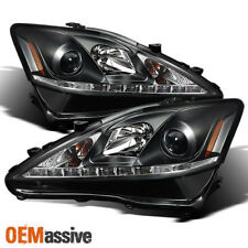 Fits 2006-2010 Lexus IS250 IS350  Black LED DRL Projector Headlights Left+RIght