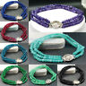 3 Rows Faceted 2x4mm Topaz/Ruby/Emerald/Agate Rondelle Gems Beads Bracelet 7.5''