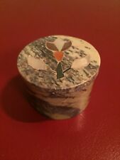 A Beautiful Vintage Marble & Mother-of-Pearl Pill Box, Made in England