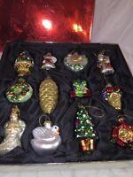 12 Far East Brokers Hand Blown Hand Painted Glass Ornament asst. box angel swan