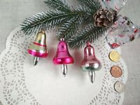 Vintage Glass Ornaments set Bell Silver Pink Rare Antique Soviet Xmas USSR 142
