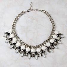 Silver Chunky Bib Necklace Statement Collar Geometric Black White Floral Boho