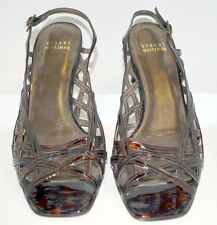 Stuart Weitzman Womans Shoes Open Weave Sandals Patent Leather Cheetah 7.5