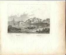 Stampa antica POZZUOLI veduta panoramica Napoli 1834 Old antique print Engraving