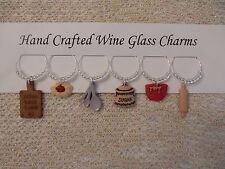 """"""" BAKER """"SET OF 6 HAND CRAFTED Wine glass charms"""