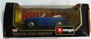 Burago Porsche 356B Cabriolet (1961) 1:24. Blue Model Car. In Box