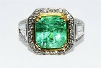 $21,000 4.22CT NATURAL COLOMBIAN EMERALD & DIAMOND COCKTAIL RING 18K GOLD