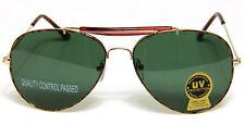 Retro Aviator Sunglasses Brown Gold Classic Men Women Fashion Style