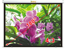 "Antra® 180"" 4:3 Electric Motorized Projector Projection Screen Remote MattWhite"