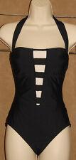 ATHENA - Black & White - Halter - SUPER Stretchy One Piece Swimsuit size 8 *NICE