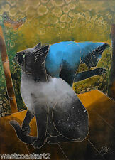 Jom Sun Kim Cats & Butterfly Korean Listed Contemporary Artist South Korea