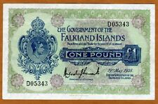 Falkland Islands, 1 pound, 1938, KGVI, P-5, XF > Rare in high grade
