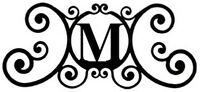 Wrought Iron Monogram Letter Over the Door House Plaques New Black Metal Decor