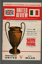 FOOTBALL MATCH PROGRAMME MANCHESTER UNITED MILAN SEMI FINAL CHAMPION CUP 1969