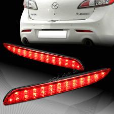 For 2010-2013 Mazda 3 Red Lens Red LED Rear Bumper Reflector Brake Light Lamps