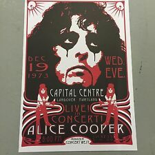 ALICE COOPER - CONCERT POSTER LANDOVER MARYLAND 19TH DECEMBER 1973   (A3 SIZE)