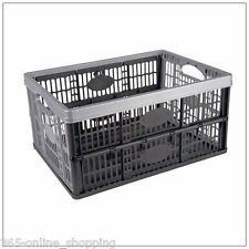 32L Portable Plastic Folding Storage Box Container Basket Crate Stack Foldable
