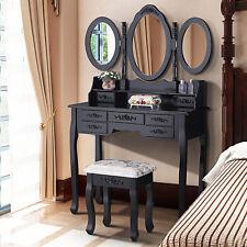 Vanity Black Dressing Table&Stool Set with 3 Mirrors,7 Drawers Bedroom Furniture