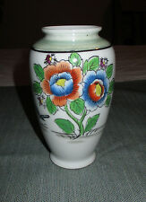 """Made in Japan 5"""" Porcelain Vase, Hand Painted Red & Blue Flowers, Bird"""