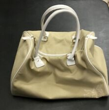 Nina Ricci Fabric Canvas Tote Bag Beige White Vintage Rare