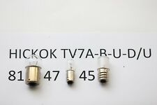 HICKOK TV7-A TV7-B TV7-U TV7-D/U TUBE TESTER SET BULBS: 81, 47, 45. RCA30/2