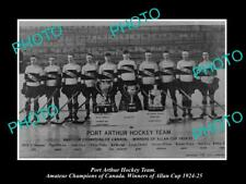 OLD 8x6 HISTORIC PHOTO OF PORT ARTHUR ONTARIO ICE HOCKEY TEAM ALLAN CUP 1924