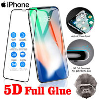 Gorilla 5D Tempered Glass Screen Protector For Apple iPhone 6,7,8 Plus X, BLACK