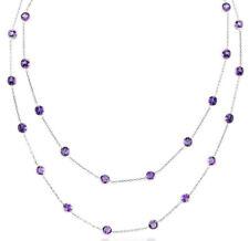 14K Oro Blanco Amatistas por Yardas Piedra Preciosa Collar 81.3cm