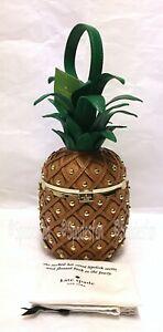 Kate Spade PXRU8938 By The Pool Leather 3D Pineapple Bag Clutch WOOD Brown NWT