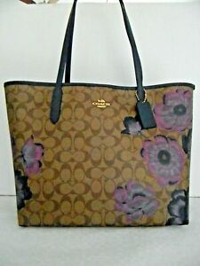 NWT COACH CITY TOTE IN SIGNATURE CANVAS WITH KAFFE FASSETT PRINT 5697