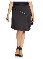 Lane Bryant ASYMMETRIC Zipper BLACK Satin Skirt Dress Suit Plus Size 18 2X NWT