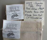 2009 P & D Uncirculated Puerto Rico US Mint Quarter Bags 25c Coins 200 coins K30