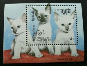 [SJ] Cambodia Domestic Cats 1988 Pet (miniature sheet) MNH *JUVALUX '88