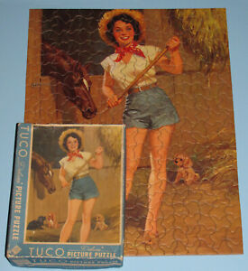 "VINTAGE RARE TUCO DELUXE PICTURE PUZZLE ""THE FARMERs DAUGHTER"" HORSE DOG PUP CIB"