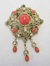 Vintage Faux Pearl Coral & Green Rhinestone Gold Tone Dangle Brooch Pin