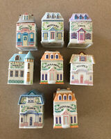 Lenox Spice Village Set 8 Porcelain Canisters Jars Allspice Nutmeg Cinnamon VTG