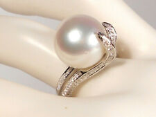 13.9mm white South Sea pearl ring, diamonds, solid 18k white gold