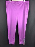 Vintage Fila Womans Size 18 Purple Tracksuit Bottoms Retro Track Pants 80s 90s