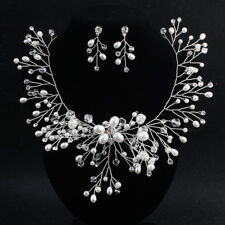 Beaded Bridal Accessories Wedding Necklace Earring Set Silver Blossom Necklace