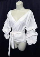 NWOT Simplee Wrap Blouse Top White Bloused Sleeves Cotton M NEW